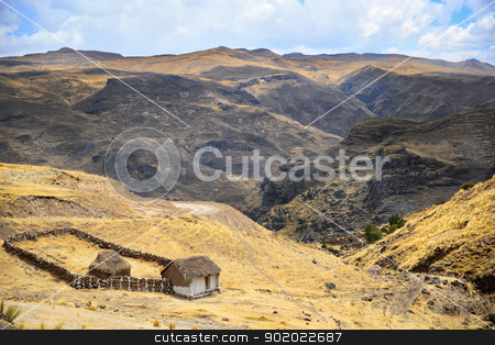 Little peasant hut in mountains stock photo, Little peasant hut in mountains. Ancient ruins and mountains in the backround. by lermannika