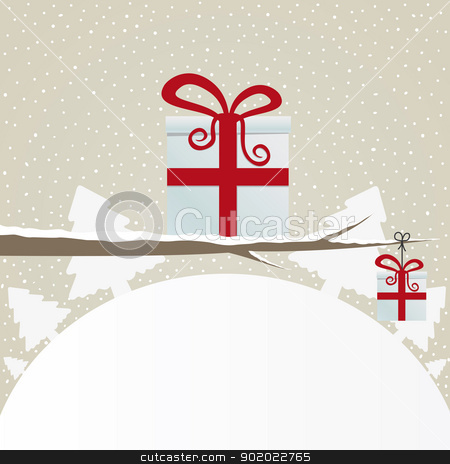 gift box on branch stock vector clipart, gift box on branch snowy winter landscape  by d3images