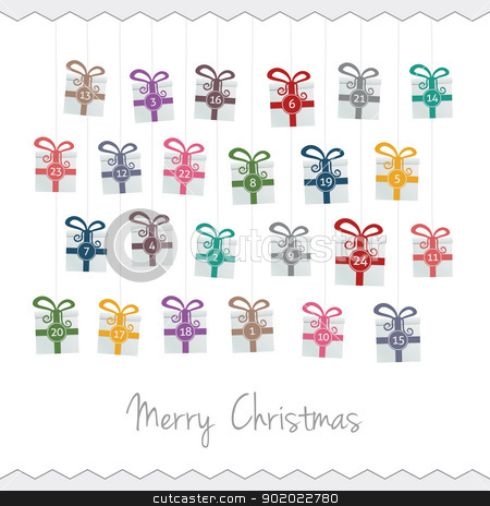 gift advent calendar stock vector clipart, gift boxes hang on twine advent calendar by d3images