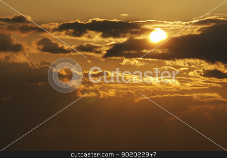clouds at sunset stock photo, Shot of the sky and clouds - sunset by Siloto