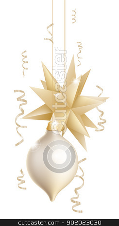Beautiful gold and white Christmas baubles stock vector clipart, Illustration of two beautiful gold and white Christmas tree baubles or decorations one in the shape of a star  by Christos Georghiou