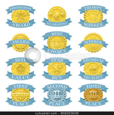 Award medals or badges stock vector clipart, Set of gold and blue award medals or badges like those used for internet product or consumer reviews or tests or for product descriptions by Christos Georghiou