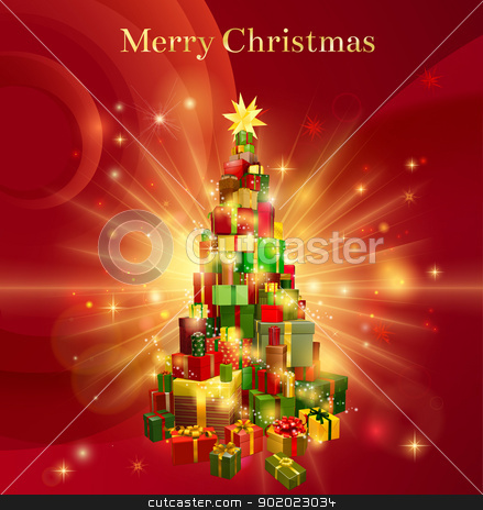 Red Merry Christmas Gift Tree Design stock vector clipart, A red background design with a stack or pile of Christmas gifts or presents in the shape of a Christmas tree with a star decoration on the top and the text Merry Christmas by Christos Georghiou