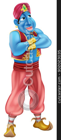 Friendly Jinn or genie standing stock vector clipart, Illustration of a friendly looking blue cartoon genie standing with his arms folded by Christos Georghiou