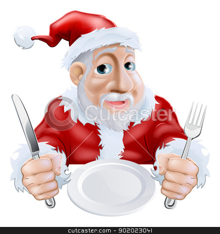 Happy cartoon Santa Ready for Christmas Dinner stock vector clipart, A happy cartoon Santa ready for Christmas dinner waiting for food with knife and fork in hand and empty plate. Alternatively place your text or food graphic on plate. by Christos Georghiou