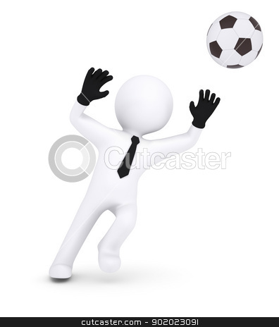 3d human with gloves goalkeeper catches a football stock photo, 3d human with gloves goalkeeper catches a football. Isolated on white background by cherezoff