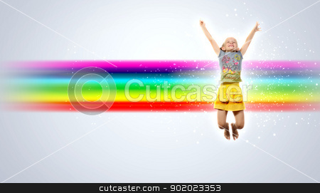 happy kid jumping stock photo, Photo of little girl jumping and raising hands against rainbow background by Sergey Nivens