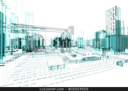 abstract architecture stock photo, Architectural design of modern city by carloscastilla