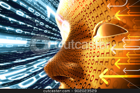 Technology concept  stock photo, Technology concept with face and binary code by carloscastilla