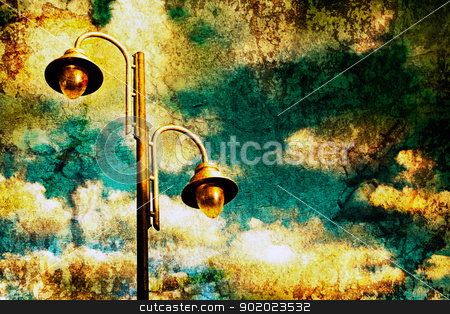 Lamppost  stock photo, Lamppost and sky in old image style.  by carloscastilla