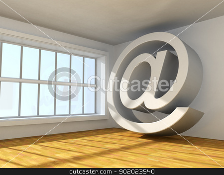 symbol of internet stock photo, Surreal 3d image of symbol of internet in interior by carloscastilla