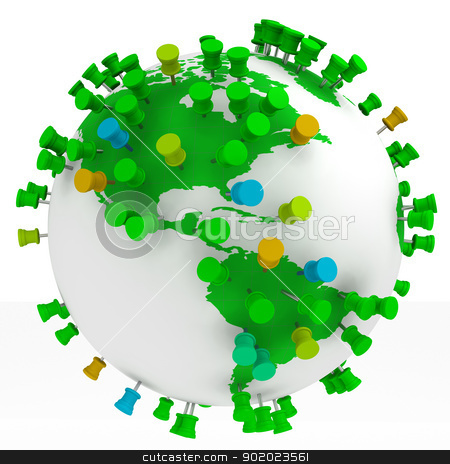 travel concept stock photo, Globe world map and Push Pins isolated in white by carloscastilla