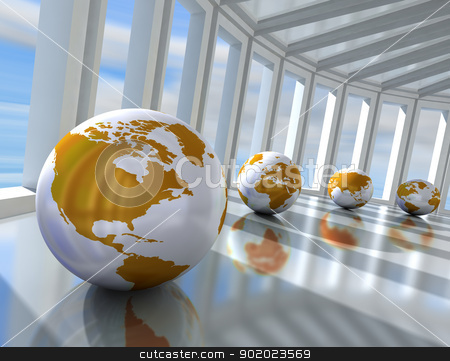 Networking concept  stock photo, Network concept with globe world map by carloscastilla