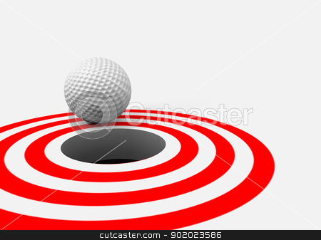 success concept stock photo, Conceptual 3d image with golf ball and hole by carloscastilla