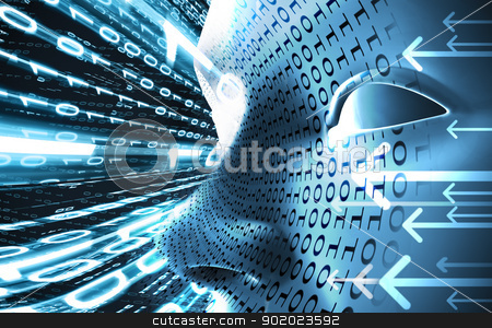 Technology and internet concept  stock photo, Technology concept with face and binary code in blue toned by carloscastilla