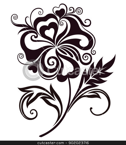 Abstract flower line-art stock vector clipart, Abstract flower line-art element for design. Vector illustration. by Allaya