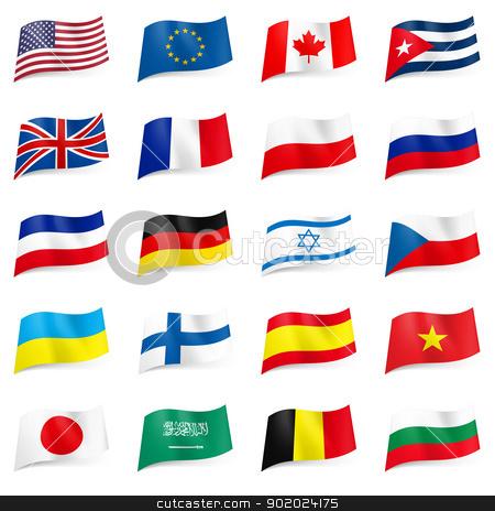 Set of World flags icons stock photo, Set World flags icons. Illustration on white by dvarg