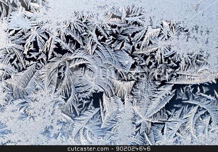 Ice pattern stock photo, Beautiful ice pattern on cold glass texture. by Yulia Chupina
