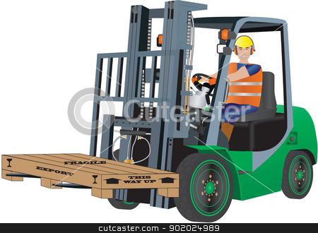 Green Forklift Truck stock vector clipart, A Green Forklift Truck and Driver carrying a packing case by d40xboy