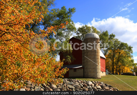 Heritage park, Michigan stock photo, Barn and autumn trees in Heritage park Michigan by Sreedhar Yedlapati