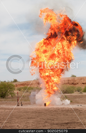 Motion Picture Explosion stock photo, Giant exploding controlled fireball for movie outside by Scott Griessel