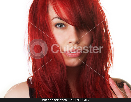 Sensual Lady with Messy Hair stock photo, Sensual European female with red blown out hair by Scott Griessel