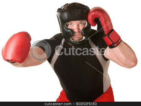 Boxer with Right Hook stock photo, Muscular boxer over white background with right hook by Scott Griessel
