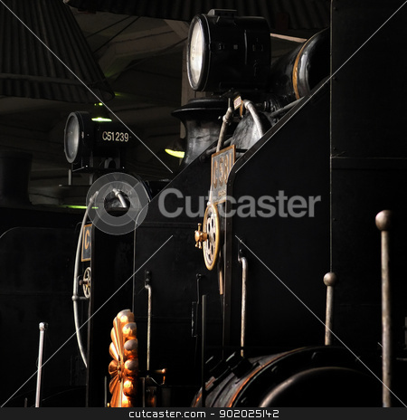 Steam Locomotives stock photo, Steam Locomotives in the locomotives shed in a museum in Japan by Hasnuddin Abu Samah