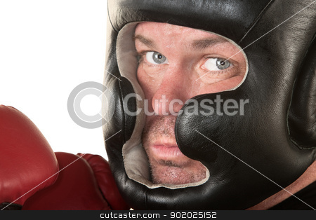 Serious Boxer Close Up stock photo, White male boxer with serious expression on isolated background by Scott Griessel