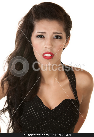 Sympathetic Young Woman stock photo, Sympathetic young Native American woman in polka dot dress  by Scott Griessel