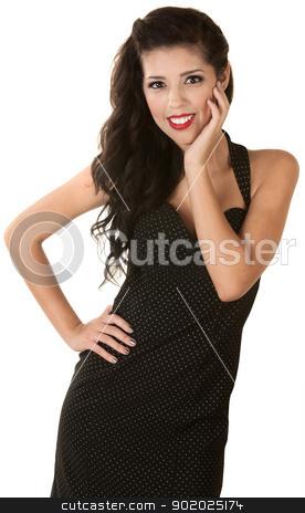 Beautiful Thin Woman stock photo, Beautiful thin young woman in polka dot dress by Scott Griessel