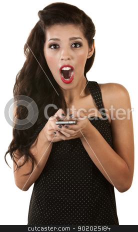 Excited Woman with Phone stock photo, Excited young Latino woman holding cell phone over white by Scott Griessel