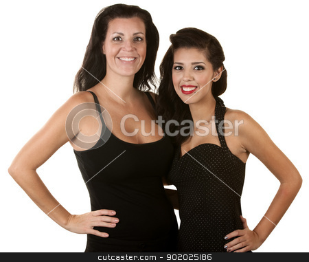 Two Hispanic Women Smiling stock photo, Pretty Hispanic mother and daughter over white background by Scott Griessel