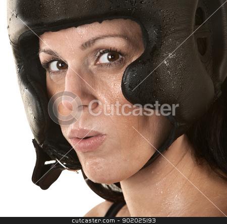 Female Hispanic Fighter stock photo, Close up of female Hispanic fighter sweating by Scott Griessel
