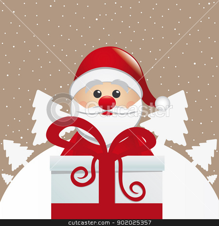santa behind gift box winter landscape stock vector clipart, santa behind gift box white winter landscape by d3images