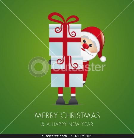 santa hold gift boxes red ribbon stock vector clipart, santa hold gift boxes with red ribbon by d3images