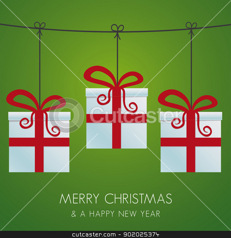 christmas gift boxes hanging on twine stock vector clipart, christmas gift boxes hanging on a twine by d3images