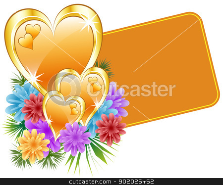Valentine gold hearts and flowers stock vector clipart, Valentine gold hearts, flowers and a gift tag. Isolated on white. Copy space for text. by toots77