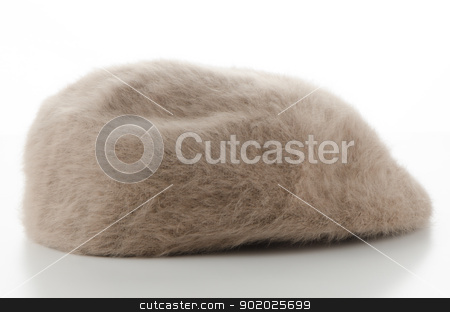 Brown cap stock photo, Brown retro style fur cap on white background. by Homydesign