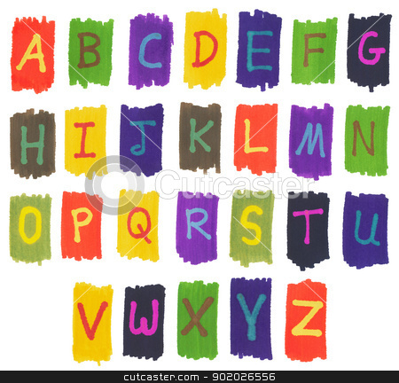 The alphabet written with colorful felt tip marker ink pens. stock photo, The alphabet written with colorful felt tip marker ink pens. by Stephen Rees