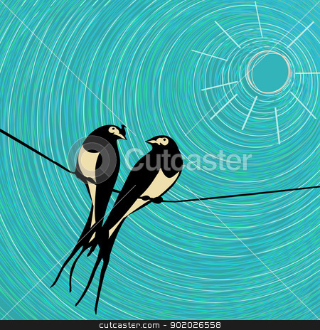 Swallows card. stock vector clipart, Swallows love card, graphic art by Richard Laschon