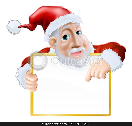 Happy cartoon Santa holding sign stock vector clipart, An illustration of a happy cartoon Santa holding a sign and pointing at the message   by Christos Georghiou
