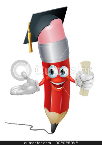 Pencil graduate education concept stock vector clipart, An illustration of a pencil character in mortar board hat holding scroll certificate or diploma graduating by Christos Georghiou