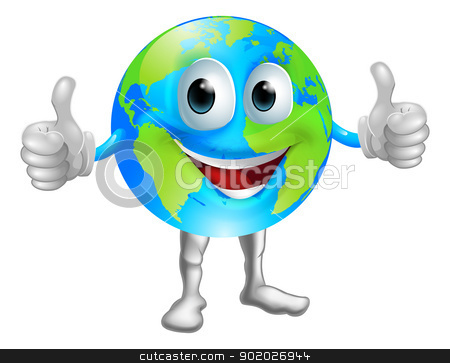 Globe mascot character stock vector clipart, A world or globe mascot character with a broad grin giving a thumbs up by Christos Georghiou