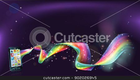 Cell phone rainbow background stock vector clipart, An abstract background with mobile cell phone with a rainbow flowing from it by Christos Georghiou