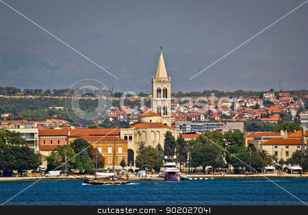 Zadar waterfront view from the sea stock photo, Zadar waterfront view from the sea, Dalmatia, Croatia by xbrchx