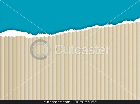 Cardboard torn edge stock vector clipart, corrugated cardboard background with torn edge and blue paper by Michael Travers