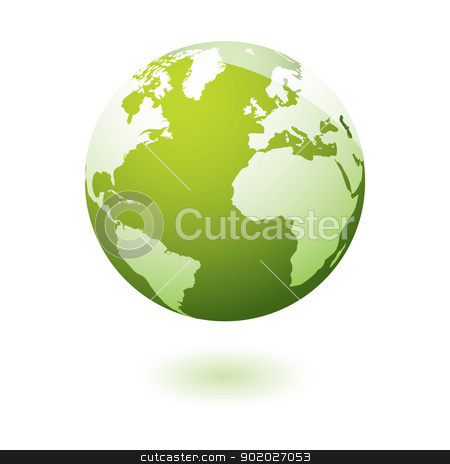 Green icon earth gel stock vector clipart, Green earth icon with eco theme by Michael Travers