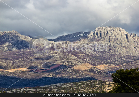 A1 Highway, Croatia - Velebit mountain road stock photo, A1 Highway, Croatia - Velebit mountain road under Tulove grede peak by xbrchx