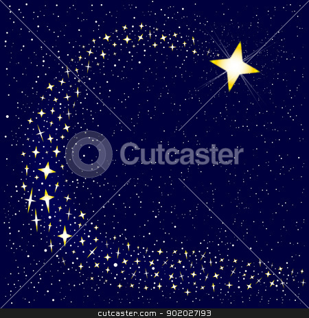 Shooting Star stock vector clipart, A shooting star surrounded by several star clusters.  by Kotto